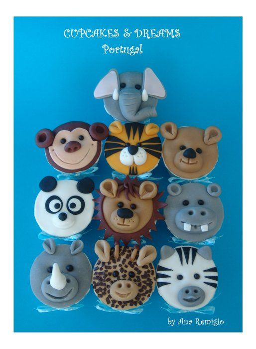 Zoo animal cupcakes by Ana Remigio on cakesdecor.com