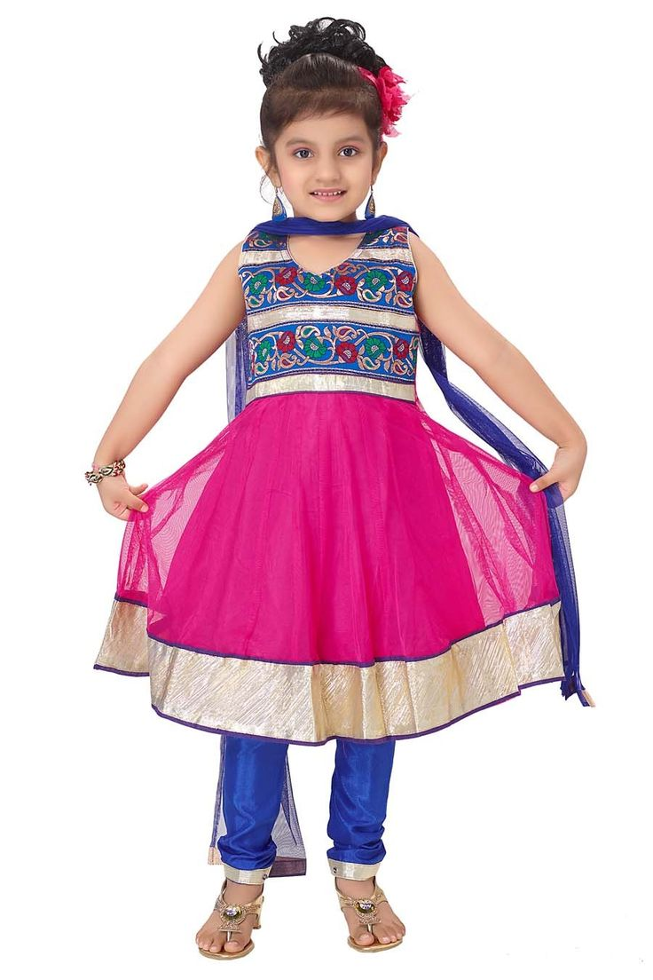 Baby Girl Anarkali Dress with fancy hemline and watch her be the centre of attraction.  Item Code: KDEW134GF http://www.bharatplaza.com/new-arrivals/kids-wear.html
