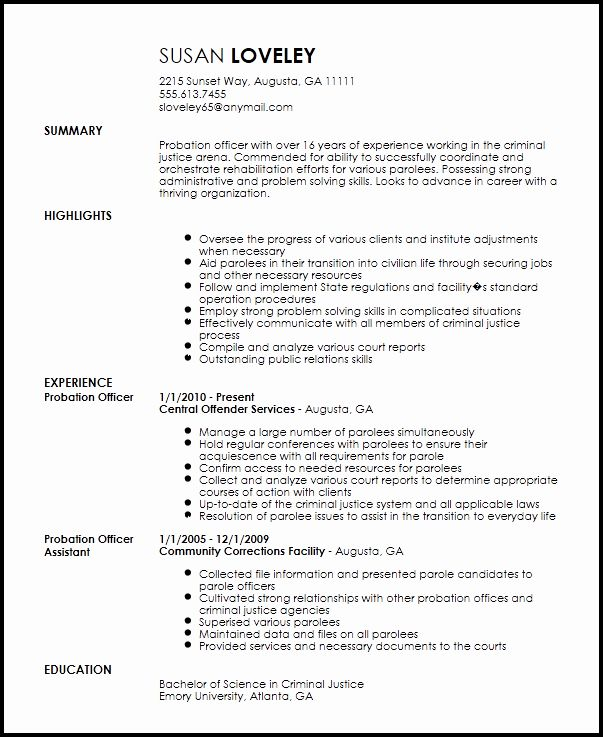 Correctional Officer Duties Resume Elegant 22 Of Probation Ficer Report Template Resume Good Resume Examples Cool Lettering
