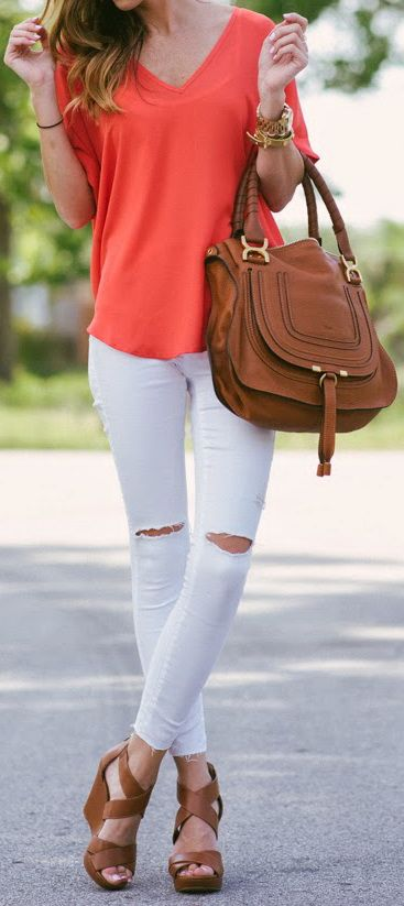 Lush Cuff Sleeve Woven Tee in Red Paprika | Topshop Moto Distressed Skinny Jeans | Jessica Simpson 'Jaydn' Wedge Sandals