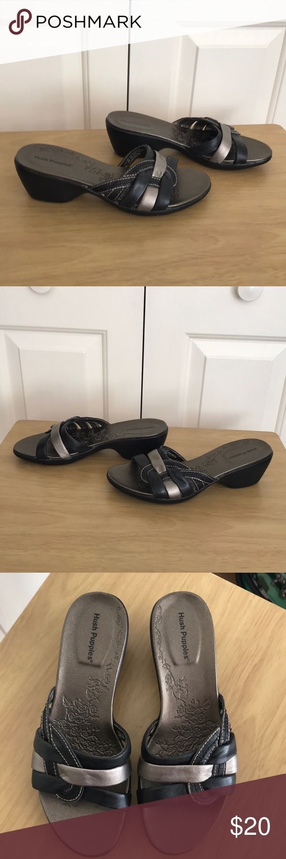 """Hush Puppies sandals Slip in leather sandals with 2"""" heels. Can be dressy or casual depending on the outfit. Gently used for one summer season from non smoking home. Bundle up with other items and save $$. Hush Puppies. Shoes Sandals"""