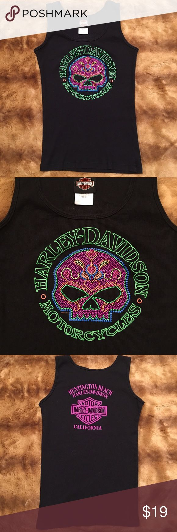 Harley Davidson Tank Top Unique HD Tank from Surf City, Huntington Beach CA! Slightly raised sugar skull design, great colors. Size Medium. Arm holes aren't too big so you can easily wear a bra. Paid a pretty penny for it but it's time to let it go. Very lightly worn. Harley-Davidson Tops Tees - Long Sleeve