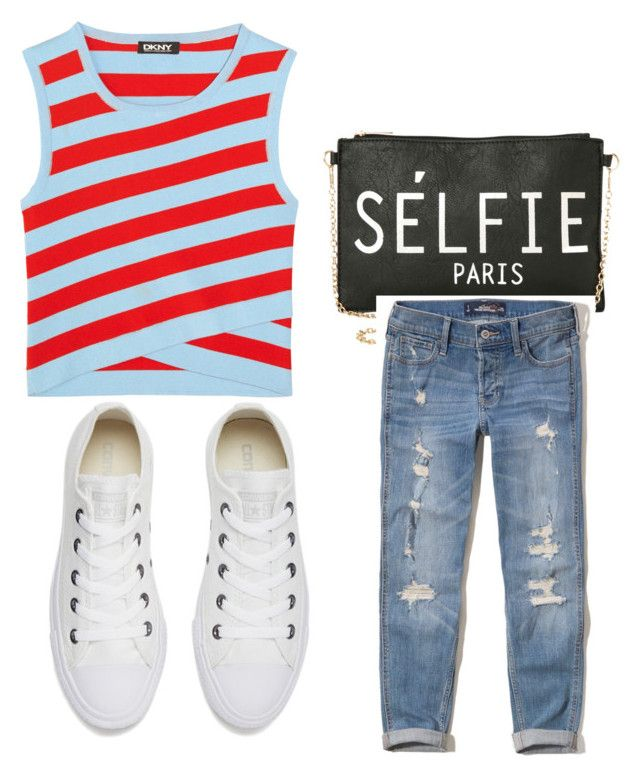 """""""My First Polyvore Outfit"""" by julie-matthews-montgomery ❤ liked on Polyvore featuring DKNY, Torrid, Hollister Co. and Converse"""