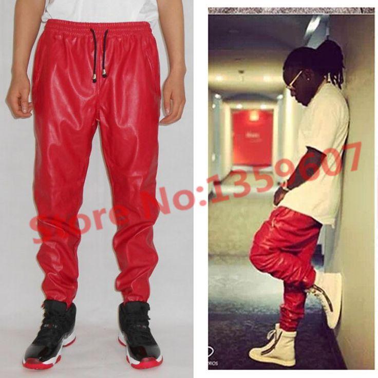 Mens leather jogger pants cheap