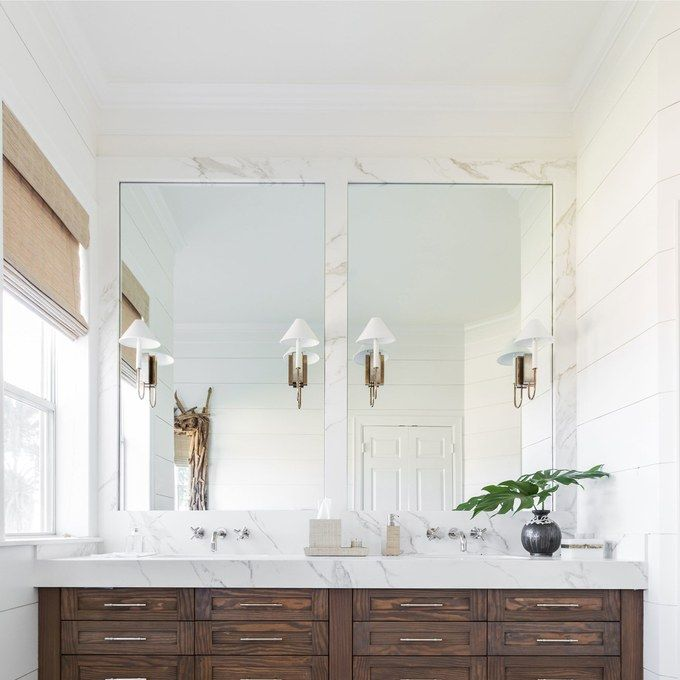 Shiplap Bright Bathroom White With Wood Cabinets
