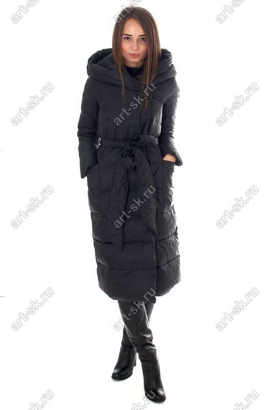 Длинный пуховик женский Армани с капюшоном коллекция 2016-2017