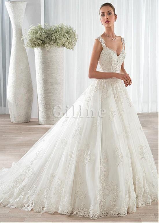 Robe de mariée en tulle avec perle ligne a avec décoration dentelle merveilleux