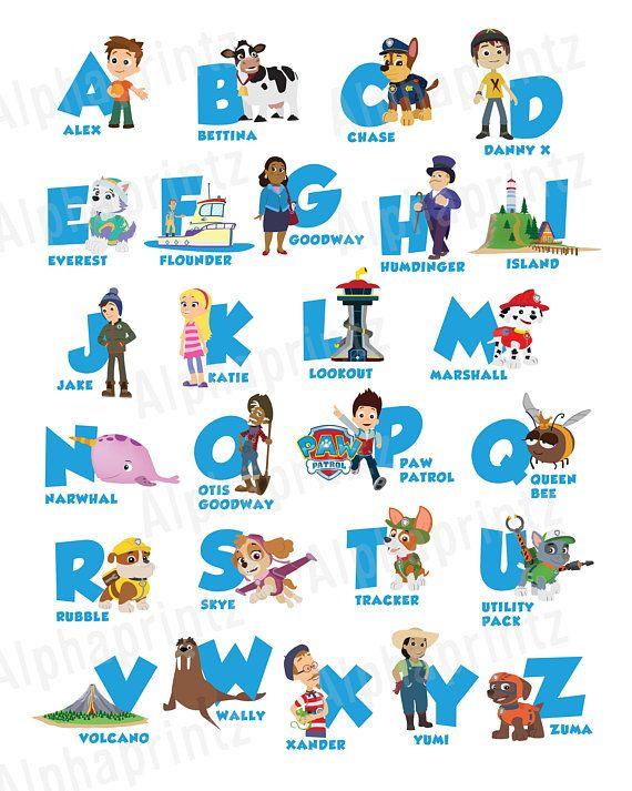 Paw Patrol Alphabet Poster Nursery Print Paw Patrol Theme Theme Printable Instant Download Alphabet Poster Paw Patrol Alphabet Poster Paw Patrol Birthday