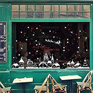 Decorie Christmas Snowflakes Town Window Wall Stickers for Home Decor 60*90cm: Amazon.co.uk: DIY & Tools