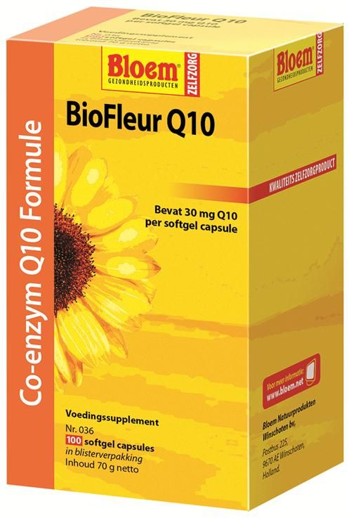 Bloem Natuurproducten BioFleur Q10  100 softgels - BioFleur Q10 is een voedingssupplement dat naast het Co-enzym Q10 (30 mg per capsule) tevens vitamine E bevat. In verband met de in december 2012 ingevoerde Europese wetgeving, mogen wij helaas niet meer aangeven wat voor eigenschappen dit product heeft of waarvoor mensen het zoal gebruiken. Heeft u vragen over dit product? Neem dan contact op met onze klantenservice.