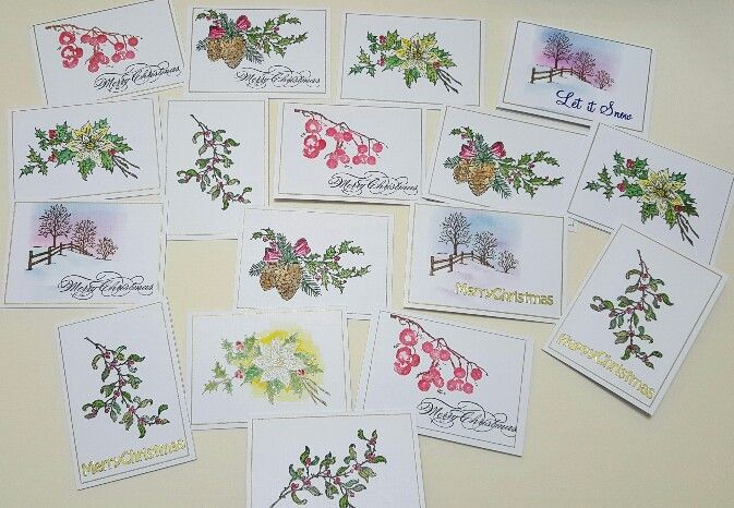 Various stamps hand painted - Christmas 2015
