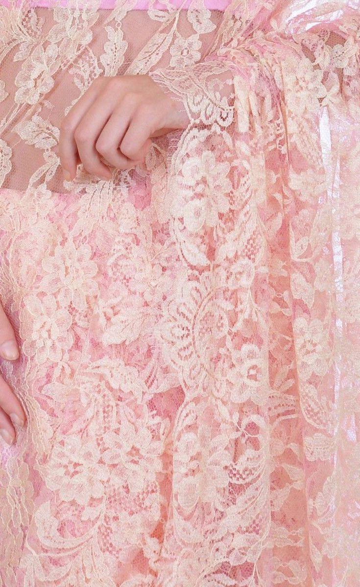Cream and Pink Dual Tone French Chantilly Lace Saree With Blouse