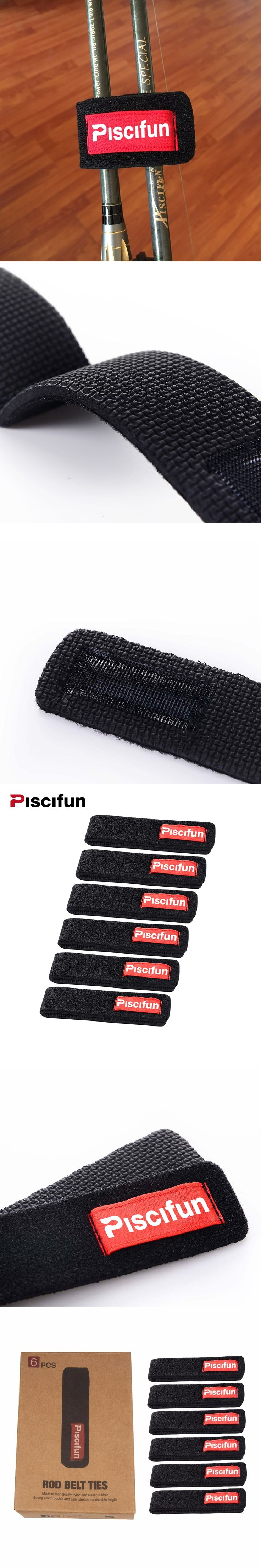 Piscifun 6Pcs/Lot Fishing Rod Tie Fishing Rod Tackle Rod Strap Belt Fishing Rods Holder Wrap Bag Fishing Accessories