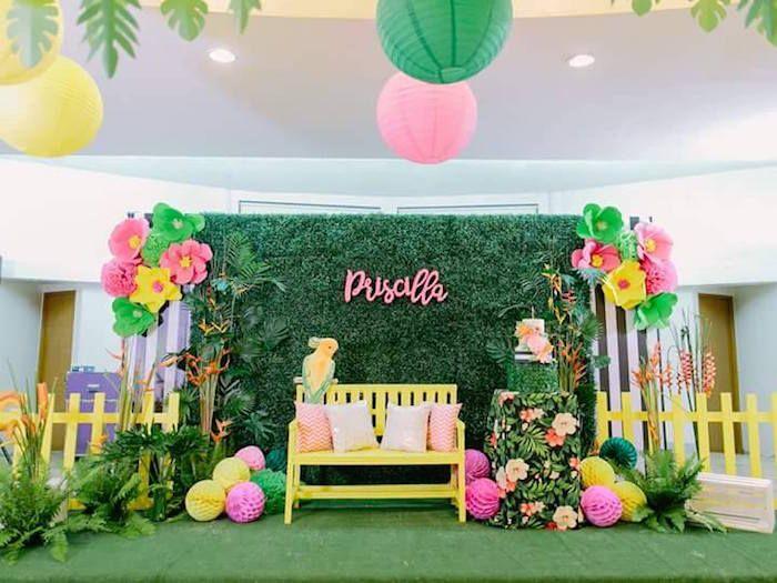 Party spread from a Tropical Flamingo Themed Birthday Party via Kara's Party Ideas - KarasPartyIdeas.com (35)