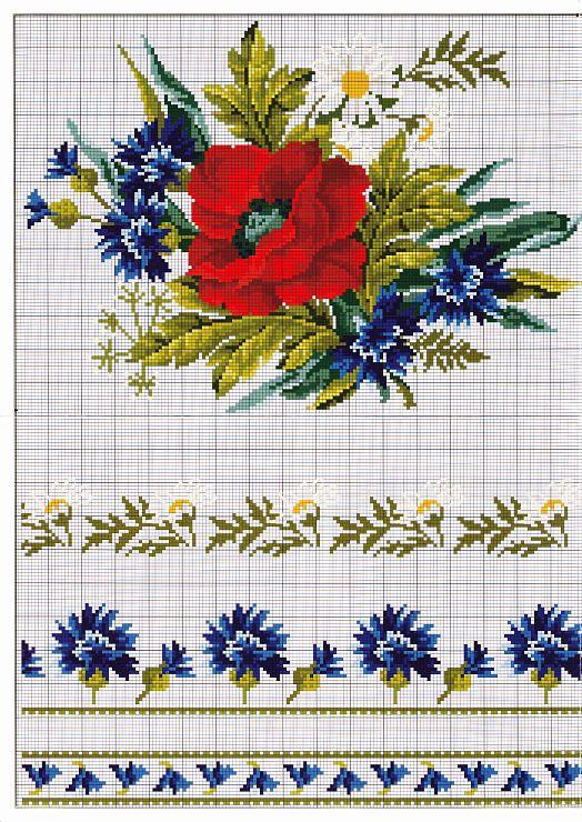 poppy, daisies, cornflowers