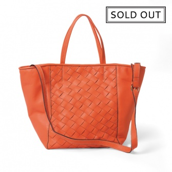 IT SÃO PAULO: Coral leather shoulder and hand shopping bag