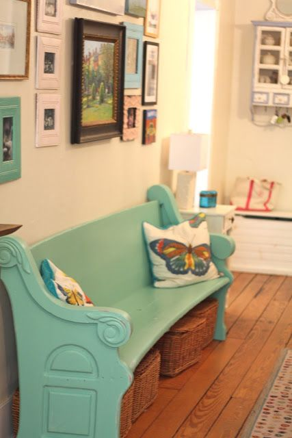 loving that old church pew and is my living room colors!