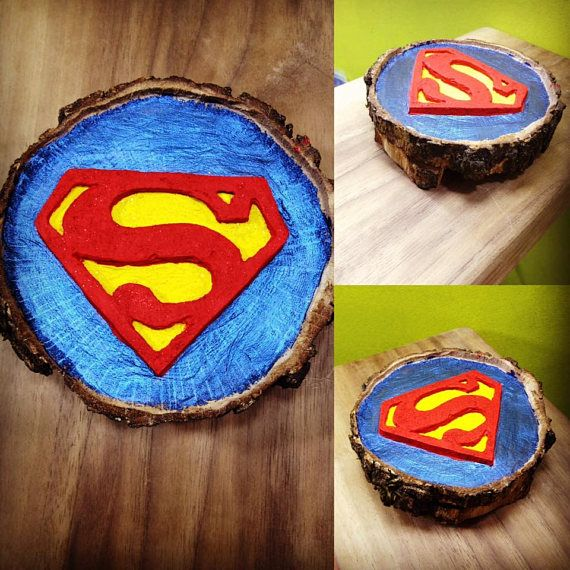 Superman Wood Art  wood carving Handmade item  Handpainted with acrylic paints  Coated with a varnish in order to enhance and protect