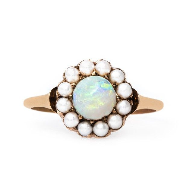 Affordable vintage inspired opal & pearl engagement ring Smokey Hill f