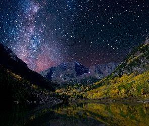 Góry Skaliste, Kolorado, Pasmo górskie Elk, Maroon Bells, Gwiazdy, Góry, Stany Zjednoczone, Jezioro, Jezioro Maroon
