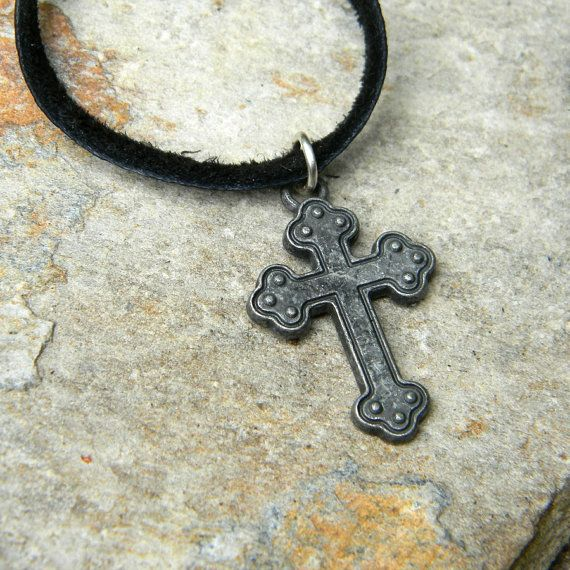 Mens leather cord necklace cross necklace by SongbirdCabinDesigns, $24.00