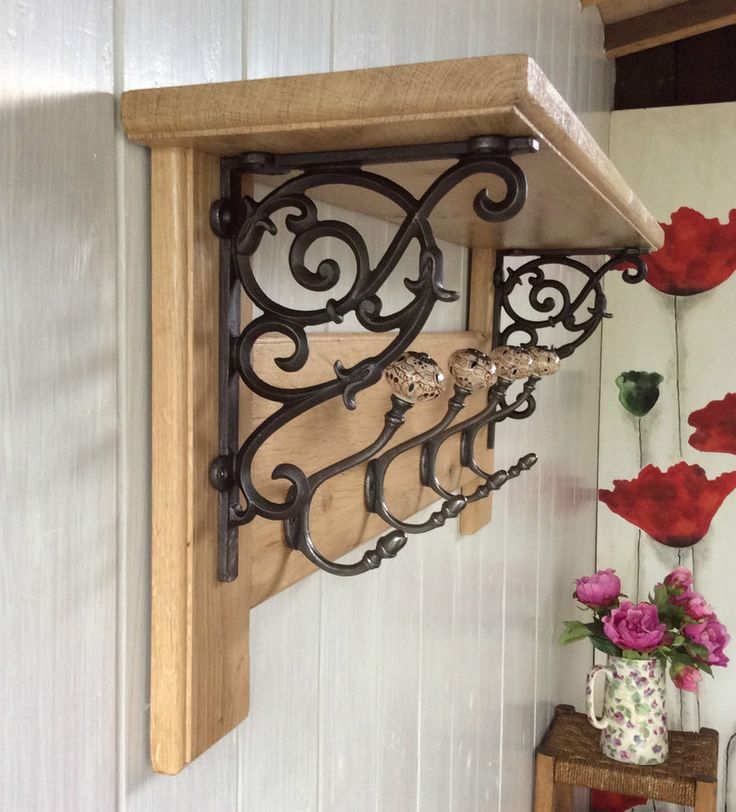 Vintage Style Coat Rack With Shelf Solid Oak Wood Country