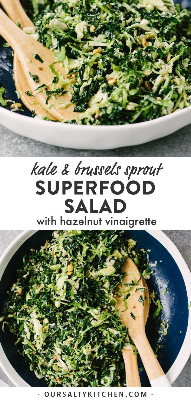 Ich bin so süchtig nach diesem gehackten Grünkohl und Rosenkohlsalat mit …   – food