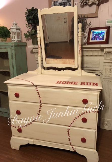 Baseball Dresser ... 3 drawer dresser with mirror. Painted in DIY paint... Vintage White and Marquee, finished with clear patina and dark and decrepit patina.