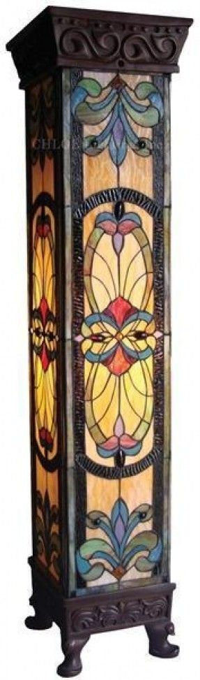 """Art Nouveau Stained Glass Tiffany Style Pedestal Floor Lamp 42""""Tall"""
