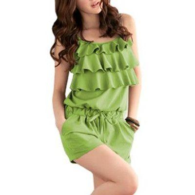 Women Ruffled Front Sleeveless Drawstring Waist Romper Green XS
