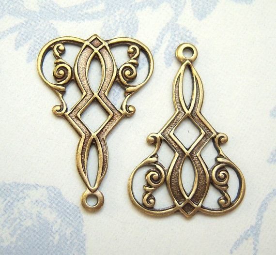 Antique brass connector / drop lot of 2  di MarilynsNewVintage, $2,25
