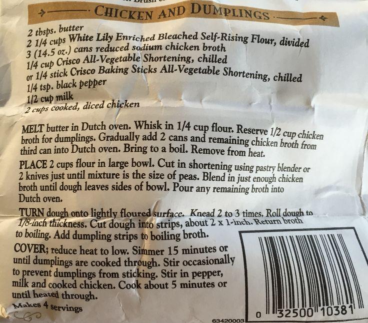 Chicken & Dumplings White Lily recipe