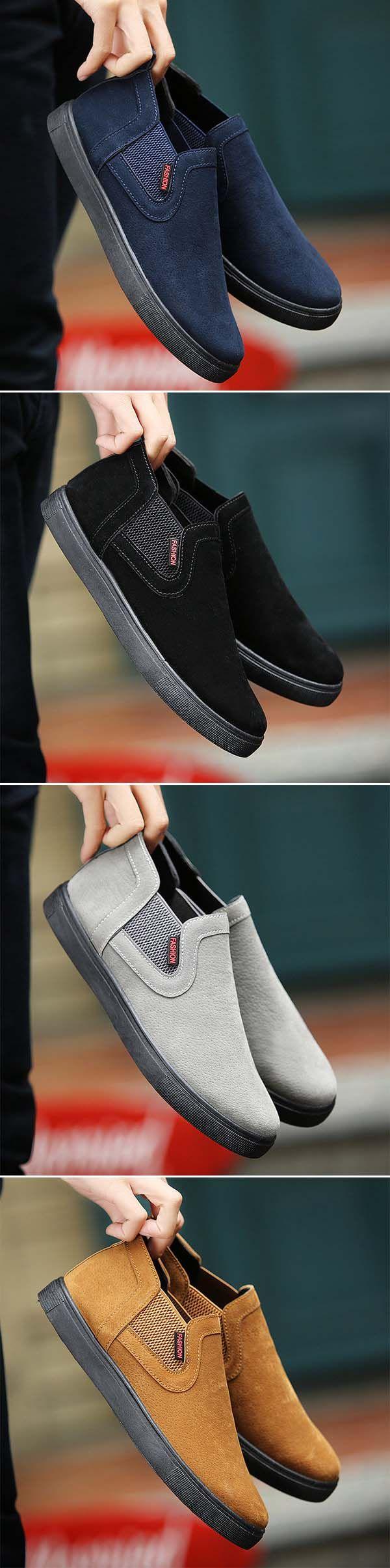 Men Low-top Elastic Panels Minimalist Design Rubber Sole Casual Shoes