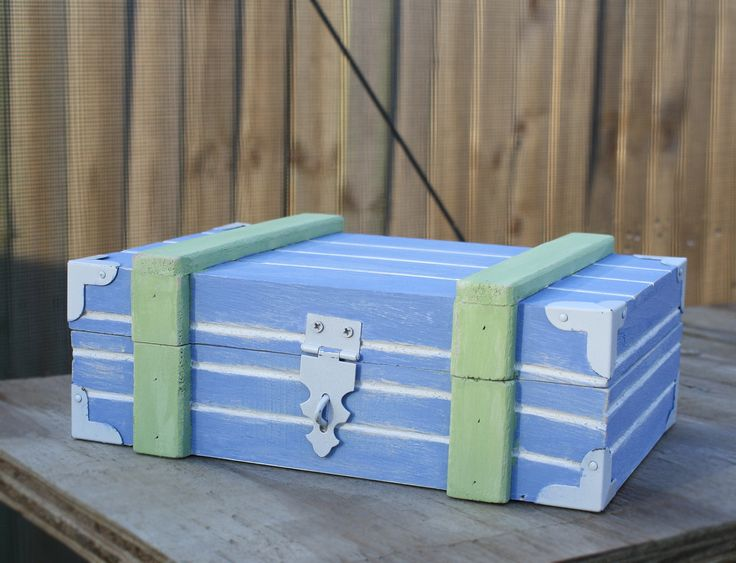Shabby Chic Key West Beach Style Decor Box Hand Painted Wood Trinket Wedding Card Holder by KateBraque on Etsy