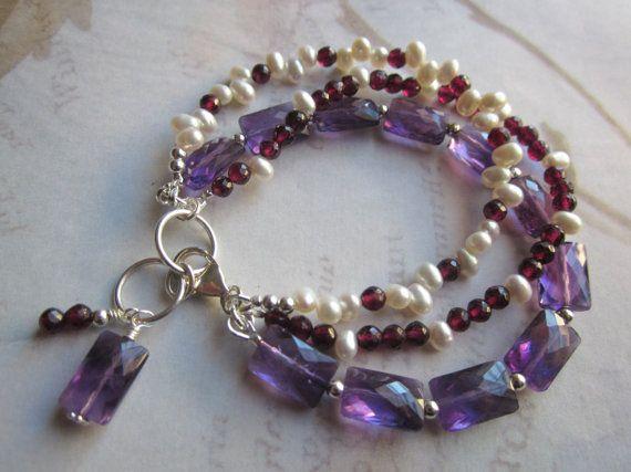 Multi Strand Gemstone Bracelet Amethyst Pearl Garnet by tuscanroad, $46.00