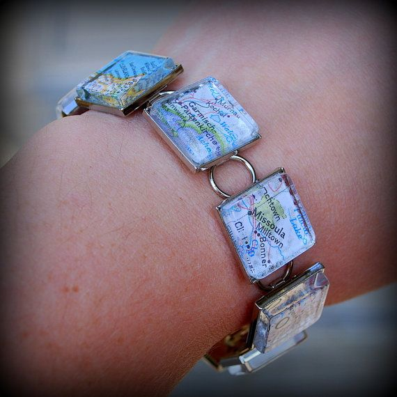 Map Charm Bracelet   You Pick Locations by DaisyMaeDesignsShop, $50.00
