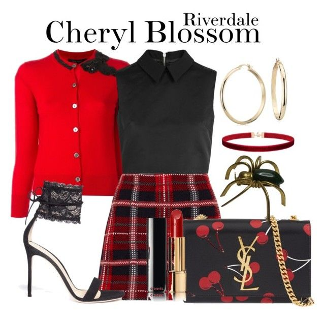 Cheryl Blossom Riverdale by sparkle1277 on Polyvore featuring polyvore, fashion, style, Marc Jacobs, McQ by Alexander McQueen, Miu Miu, Gianvito Rossi, Yves Saint Laurent, Blue Nile, Chanel and clothing