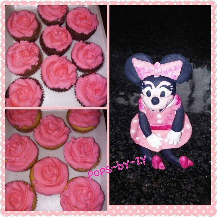Minnie mouse cupcakes and fondant figure