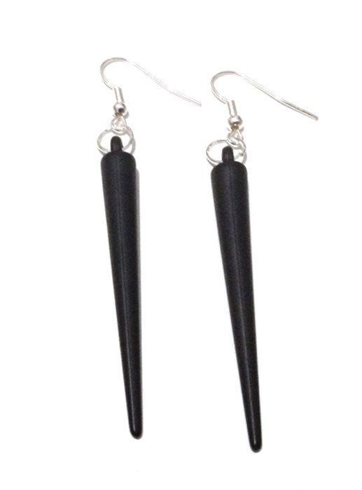 Black Acrylic Spike Earrings by Pornoromantic on Etsy