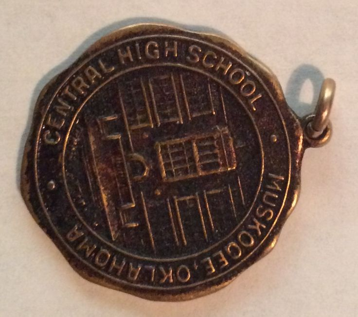 """from Amy: """"This is my grandmother's Debate Club pin from 1921. She graduated that year from Central High School in Muskogee, Oklahoma."""""""