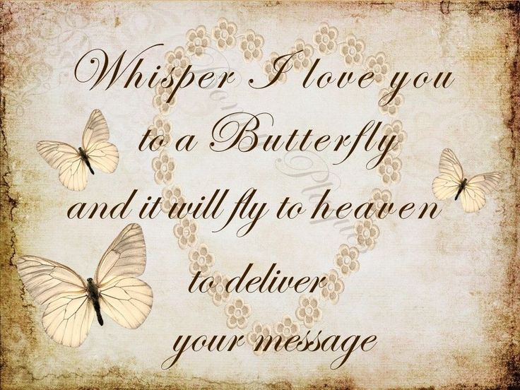 Whisper I love you to a butterfly, fly, heaven, memorial, HANDMADE plaque, beige