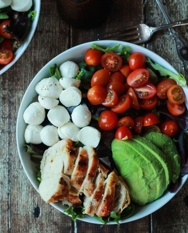 avocado caprese chicken salad with balsamic vinaigrette | domino.com