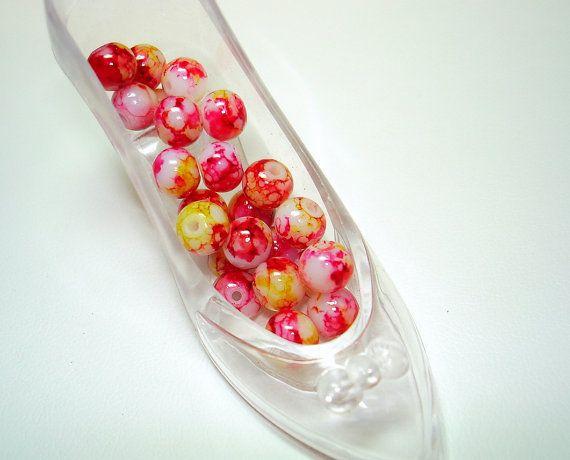 Hot Pink Yellow Splashed White Glass Round Beads (Qty 23) - B2070