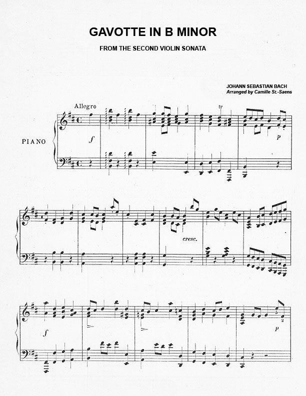 Gavotte in B Minor Piano Sheet Music | Purple Kitty...free sheet music!!