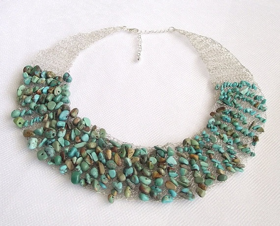 Turquoise crochet wire necklace, gemstone jewelry, green turquoise necklace, crochet wire jewelry, bib necklace wire crochet
