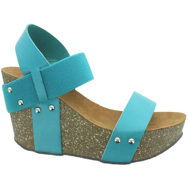 Pierre Dumas Turquoise Ellie Sandal ($14) ❤ liked on Polyvore featuring shoes, sandals, pierre dumas shoes, turquoise sandals, studded high heel sandals, platform shoes and studded sandals
