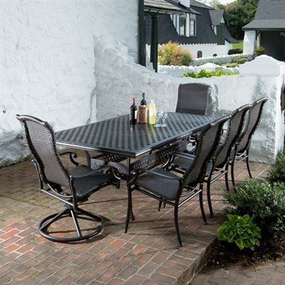 "Alfresco Home Hemingway All Weather Wicker 8-Seat Dining Set by Alfresco Home. $4119.00. High Quality Powder coated frame. 100% Cast Aluminum, No Rusting to Worry About, Chairs are fully assembled and stack for easy storage. Resin Wicker Chairs are built for comfort, no cushions needed. 84 inch Rectangular Weave Dining Table with 6 Stackable  Dining Chairs and 2 Swivel Rockers, Table includes an umbrella hole. Table: 84"" L x 60"" W x 39"" H; Chairs: 27"" L x 30"" W x ..."