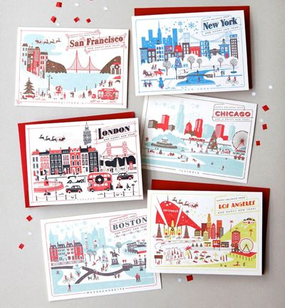 love this set.: Christmas Cards, Cards Stationary, Cute Cards, Crafts Cards, Cities Postcards, Adorable Notecards, Greeting Card, Cities Cards, Card Boxes