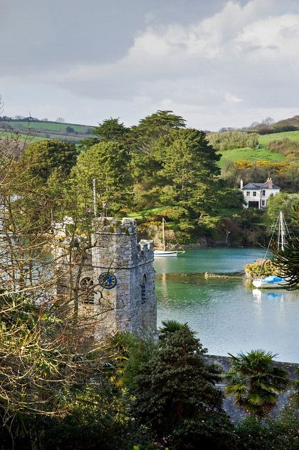 St Just in Roseland Church tower and St Just Creek beyond, Near St Mawes, on the Roseland Peninsula
