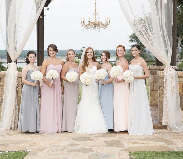 Love the color scheme of the #bridesmaids #dresses! {Laressa Marie Photography}